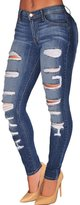 Dokotoo Womens Wash Denim Destroyed Skinny Mid Rise Jeans X-Large