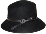 Nine West Black Buckle-Accent Wool Trench Coat Hat