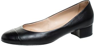 Chanel Black Leather CC Cap Toe Court Shoe Pumps Size 39.5