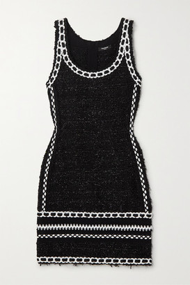 Balmain Embroidered Metallic Tweed Mini Dress - Black