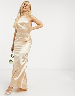 TFNC Bridesmaid satin halterneck fishtail maxi dress in champagne