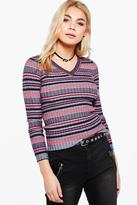 Boohoo Harriet Stripe V-Neck Jumper