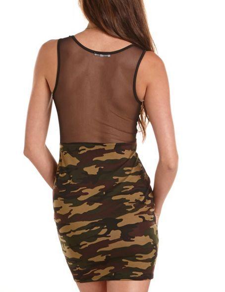 Camo Mesh Inset Body-Con Dress