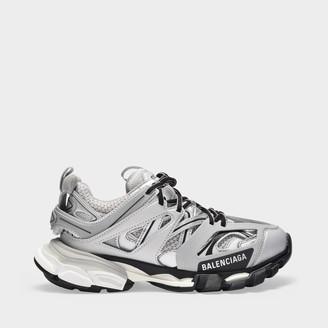 Balenciaga Track Sneaker In Silver Fabric