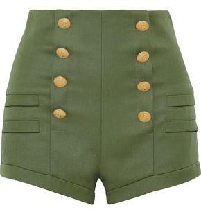 Pierre Balmain Button-embellished Wool Shorts