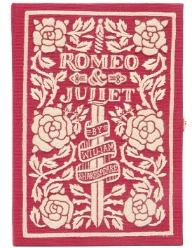 Olympia Le-Tan Romeo & Juliet Embroidered Book Clutch - Burgundy Multi