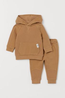 H&M 2-piece Sweatshirt Set - Beige
