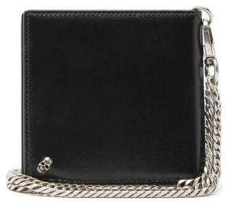 Alexander McQueen Skull-plaque Chain-strap Leather Bi-fold Wallet - Black
