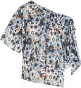 Chloé Bow-embellished Printed Cotton-gauze Top - Blue