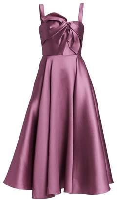 Marchesa Bow Detail Midi Cocktail Dress