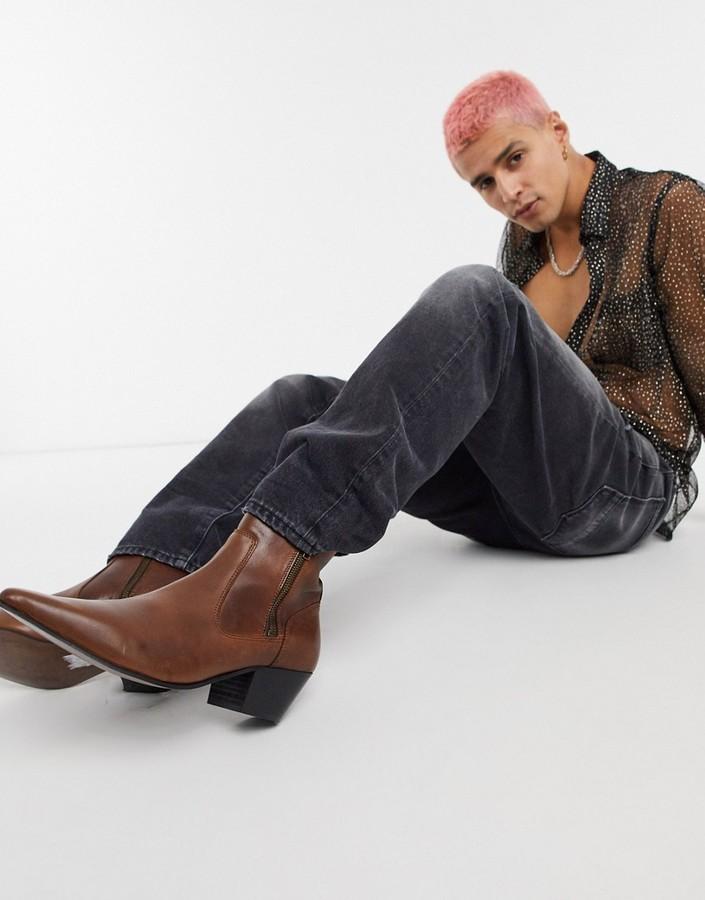 Asos DESIGN cuban heel western chelsea boots in brown leather