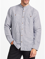 John Lewis Linen Cotton Fine Stripe Grandad Collar Shirt, Blue