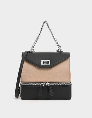Charles & Keith Wrinkled Effect Two-Way Zip Chain Handle Bag