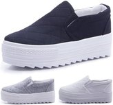 PPXID Women's High Platform Slip On Loafers Casual Canvas Student Shoes - 7.5 US