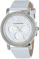BCBGMAXAZRIA Women's BG6410 Essentials Multi-Function Analog Round White Strap Watch