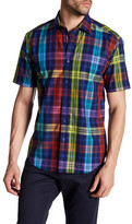 Bugatchi Trim Fit Windowpane Plaid Sport Shirt