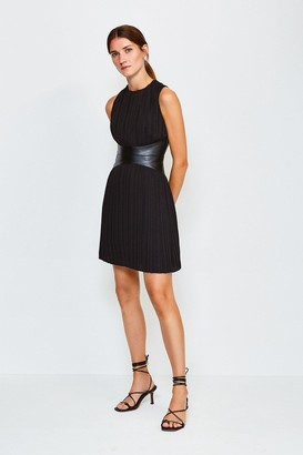 Karen Millen PU and Pleat Dress