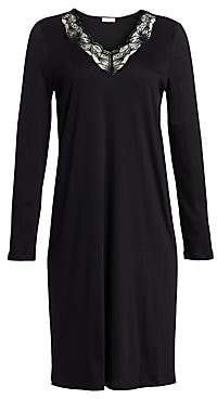 Hanro Women's Valencia Lace-Trimmed Long-Sleeve Cotton Gown