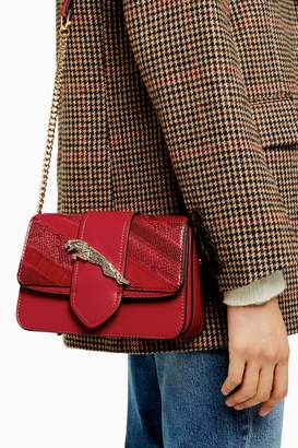 Topshop Womens Leap Red Leopard Cross Body Bag - Red