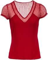 Morgan Jersey And Lace T-Shirt