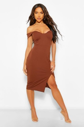 boohoo Off The Shouilder Draped Midi Dress
