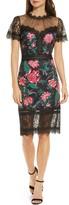 Tadashi Shoji Floral Neoprene & Lace Sheath Dress