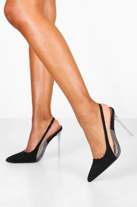 boohoo Clear Panel Stiletto Pointed Courts