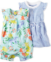 Carter's 2-Pc. Striped Dress & Floral-Print Romper Set, Baby Girls (0-24 months)
