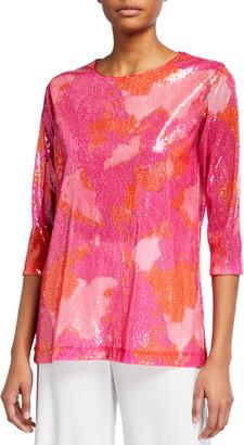 Caroline Rose Petite Sequin Printed 3/4-Sleeve Tunic
