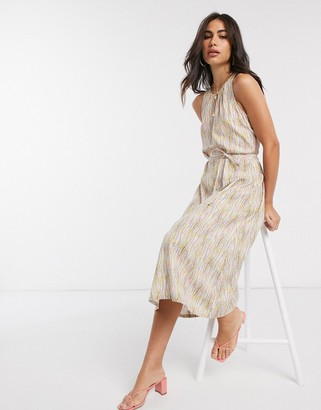 People Tree midi dress with tie waist in abstract print