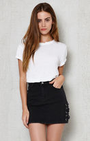PacSun Denim Lace-Up Mini Skirt