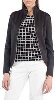 Akris Punto Dot-Press Stand-Collar Reversible Grid Pattern Blazer