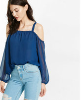 Express chiffon cold shoulder blouse
