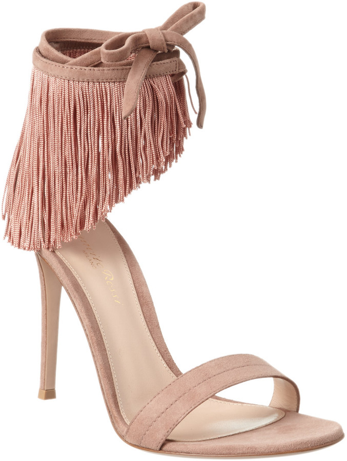 Gianvito Rossi Olivia Fringe Suede Ankle Wrap Sandal