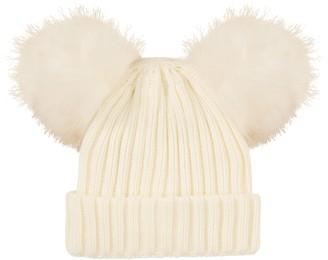 RockJock R40 Kids Girls Thermal Insulation Fleece Lined Winter Hat with Faux Fur Twin Pom Poms