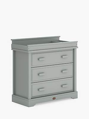 Boori 3 Drawer Dresser with Squared Change Station, Pebble Grey
