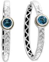 Effy Blue Topaz Patterned Hoop Earrings (2-1/10 ct. t.w.) in Sterling Silver and 18k Gold