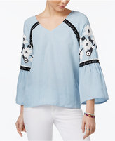 One Hart Juniors' Crochet-Trim Puff-Print Blouse, Only at Macy's