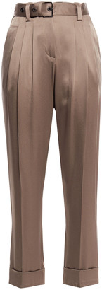 Brunello Cucinelli Cropped Pleated Satin-crepe Tapered Pants
