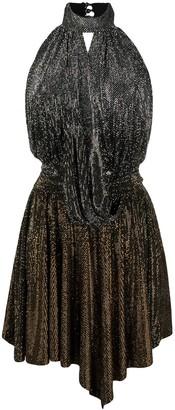 Philipp Plein Lame Halterneck Dress