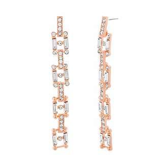 Steve Madden Women's Rhinestone Square Link Gold-Tone Dangle Earrings