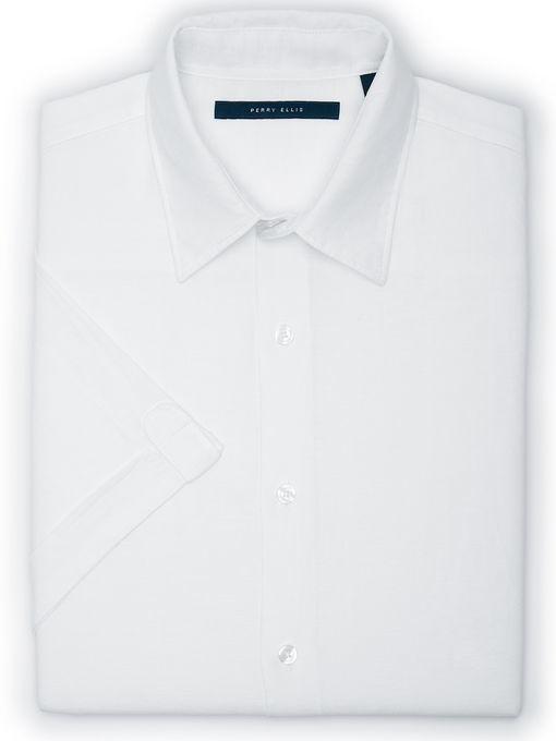 Perry Ellis Linen Cotton Short Sleeve Solid Shirt