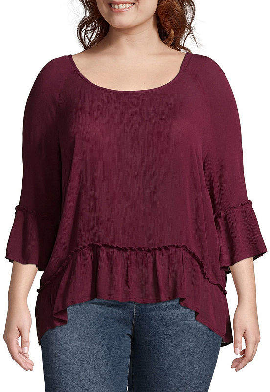 + + 3-4 Bell Sleeve Scoop Neck Woven Blouse - Plus