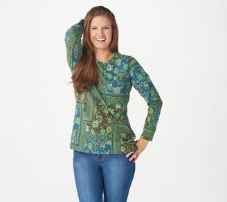 Denim & Co. Printed Perfect Jersey Long-Sleeve Tunic