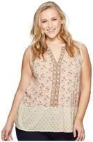 Lucky Brand Plus Size Mix Print Peplum Top Women's Sleeveless
