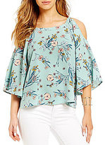 Copper Key Floral Print Cold Shoulder Top