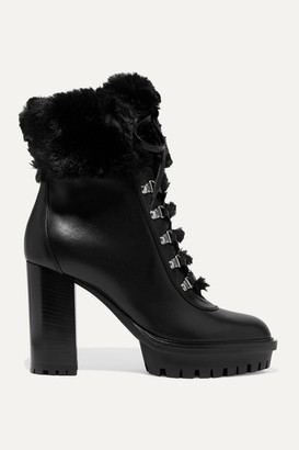 Gianvito Rossi 100 Faux Fur-trimmed Leather Platform Ankle Boots - Black