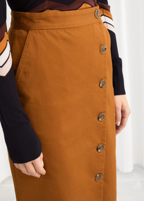 And other stories Button Up Denim Pencil Skirt