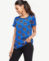 Ann Taylor Petite Tossed Leaf Piped Tee