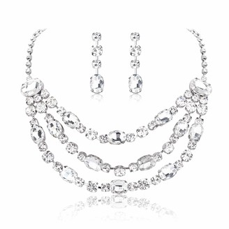 Udalyn Rhinestone Bridal Jewelry Set for Women Crystal Necklace and Dangle Earrings Jewelry Set Gifts fit with Wedding Dress